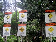 Beach Warnings (Canadian Veggie) Tags: vacation sign warning hawaii trail kauai kalalau haena napalicoast kalalautrail haenastatepark