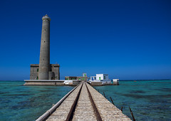 Lighthouse At Sanganeb Reef, Port Sudan, Sudan (Eric Lafforgue) Tags: africa travel blue light sea sky lighthouse nature water horizontal architecture outdoors photography vanishingpoint day northafrica guidance soedan jetty redsea sudan sunny bluesky nobody nopeople safety boardwalk copyspace reef majestic idyllic scenics soudan tranquilscene northernafrica traveldestinations colorimage beautyinnature buildingexterior portsudan fulllenght gettingawayfromitall  szudn sudo  northernsudan northsudan      xuan eri9201