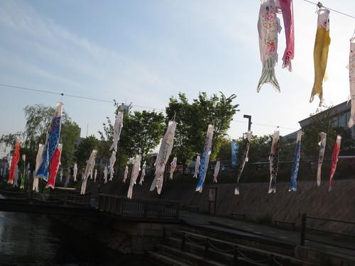 駅前の鯉のぼり