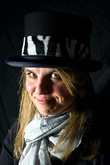 Yolanda  - top hat 1 (Richard Amor Allan) Tags: lighting hat stripes tophat zebra experimentation yolanda zebrastripes zebrapattern willfieldcameraclub yolandaamorallan