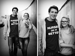"""Nurses Do It Better"" (Marcus Blank Photography) Tags: portrait blackandwhite bw woman man berlin sexy smile fashion wall shirt scarf photoshop canon hair bag fun eos 50mm glasses couple flickr do bokeh fashionphotography availablelight f14 it jeans jacket 7d blonde pro torn sw mann frau christoph asphalt mode better nurses ef mauer lightroom berlinermauer spranger inspiredby reebock aperturepriority aperturevalue macbook macbookpro macpro bokehlicious marcusblankphotography christophsprangerphotography"