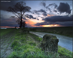 Tree watching the sunset (SwaloPhoto) Tags: road trees sunset shadow grass clouds scotland fife stump fields crombie bullions leefilters canoneos5dmkii distagont2821ze
