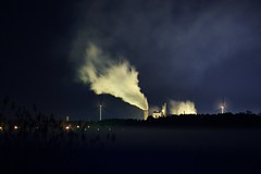 Industrial night (J Saari) Tags: blue windmill night smoke uusikaupunki windturbine kemira windpower a900 minoltaaf100200
