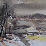 "<b>Fall, Clay County</b><br/> Cyrus Running, LFAC# 533, Watercolor, Painting<a href=""//farm9.static.flickr.com/8259/8699400134_de97d09634_o.jpg"" title=""High res"">∝</a>"