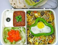 Cinco de Mayo Bento (Cathryn3) Tags: tomato lunch beans corn chili rice egg lettuce bento guacamole onion salsa tortilla sourcream greenbellpepper huevosrancheros quailegg redbellpepper pablano