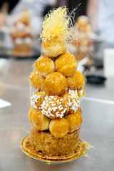 My completed croquembouche (thewanderingeater) Tags: nyc newyorkcity manhattan soho cookingschool croquembouche nyce pastryclass dominiqueansel theinternationalculinarycenter dominiqueanselbakery newyorkculinaryexperience2013 nyce2013 chefdominiqueansel