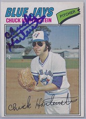 "1977 O-Pee-Chee - Chuck ""Twiggy"" Hartenstein #157 (Sold by the San Diego Padres to the Toronto Blue Jays on 5 Nov 1976) - Autographed Baseball Card (WhiteRockPier) Tags: baseball card signed autographed torontobluejays opc opeechee"