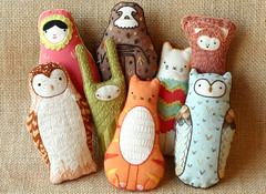 Plush Family Portait (kiriki press) Tags: bunny cat monkey diy doll shot embroidery group plush owl sloth plushie kit nesting matryoshka