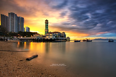 Masjid Terapung Tanjong Bunga (AzmanMd) Tags: ocean wood city travel sunset shadow sea wallpaper vacation sky cloud color reflection building beach water beautiful weather stone sunrise canon landscape evening boat town colorful peace slow view n