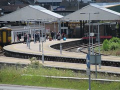 Train at the station (LookaroundAnne) Tags: travel people station train norfolk rail railway railwaystation trainstation yarmouth publictransport greatyarmouth peopleandpaths