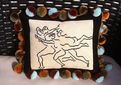 Tiny Dancers Needlepoint Pillow (victowood) Tags: needlepoint dancers handmade pompom