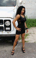 Young Beauty with Old Truck (California Will) Tags: edna latina beauty beautiful sheer blackdress ybor florida fl tampa