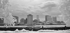 Infrared Cityscape (Neal3K) Tags: neworleans louisiana cityscape ir infraredcamera kolarivisionmodifiedcamera clouds barges river water trees skyscrapers 720nm