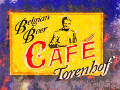 The Belgian Beer Cafe (Steve Taylor (Photography)) Tags: barley belgian beer cafe torenhof sheath waiter art digital sign black mauve purple yellow red white orange happy smile smiling newzealand nz southisland canterbury christchurch city cbd texture uniform