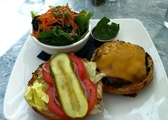Cheeseburger at the Wicklow Pub (Ruth and Dave) Tags: wicklow pub falsecreek vancouver restaurant lunch patio burger cheeseburger cheese salad pickle meat