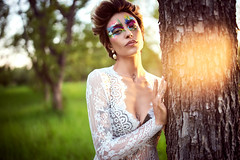 Madison (Oooah!) Tags: portrait women sunset goldenglow bower35mmf14 fashion beauty gorgeous female ilce7 madisonnazzarette beautiful newmexico lightwand sonya7 shorthair model lacedress