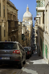 Valletta (Steve Millward) Tags: nikon nikkor d750 2470 fx fullframe raw imagequality perspective interesting malta europe mediterranean travel eu holiday vacation colour summer season scenic light mood moment capital city cityscape valletta street steep dome church architecture building unesco worldheritagesite basilica