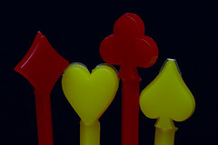 Vintage Retro Plastic Toothpicks (fingerprints1148) Tags: macro red yellow toothpicks heart diamond spade club plastic
