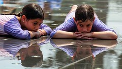 Life is not what they promised in the prospect… (ybiberman) Tags: israel jerusalem teddykollekpark fountain summer girls portrait streetphotography candid reflection earring purple water