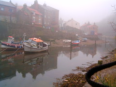 9 (tincamera) Tags: red sea mist fog river boats fishing yorkshire north roofs inlet staithes