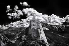 Half Dome (Tom Haymes) Tags: blackandwhite mountains clouds nationalpark yosemite halfdome yosemitenationalpark glacierpoint yosemitevalley highsierra sierranevadamountains