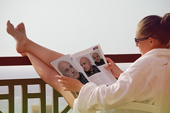 Reading on the balcony