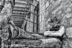 """Blondie"" (Danieldevad) Tags: old sleeping portrait bw usa white black west blanco hat canon cowboy boots artistic sleep retrato negro creative scene prison jeans jail western clint sheriff sombrero vest blondie dormir far prision wildwest clinteastwood botas gunslinger blankandwhite eastwood dormido vaqueros vaquero escena durmiendo oeste farwest spaghettiwestern pistolero chaleco flickrdiamond danieldelgado danieldevad"