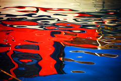 ~  traces  ~ (Monika Strataki) Tags: blue red yellow by reflections boat monika photographed strataki
