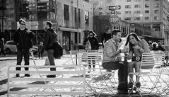 Stop All Way (mkc609) Tags: street nyc newyorkcity urban blackandwhite bw ny newyork blackwhite candid streetphotography xe1 fujixe1