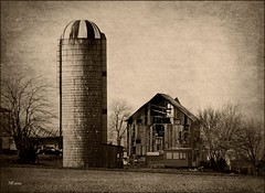 Rural Decline (MEaves) Tags: barn illinois midwest decay silo weathered toned textured antiquity ruralamerica pentaxk20d farmstructures tatot