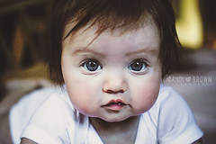Big Blue Eyes (CandiBrown) Tags: blue people baby brown cute person kid eyes child blueeyes innocent lips pout innocence bettyboop candi whiteonesie candibrown
