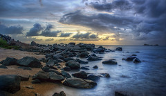 The Rocky Beach Near Dusk (Stuck in Customs) Tags: ocean sunset beach water landscape islands rocks waves dusk may rocky baths tropical grotto british caribbean volcanic windward westindian bvi 2012 virginislands antilles spanishtown virgingorda westindies leeward treyratcliff britishterritory stuckincustomscom sonynex7