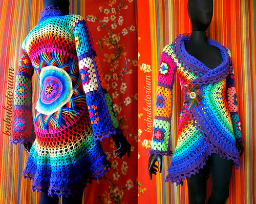 Crochet Coat - Purple Aztec Sun Mandala And Granny Squares