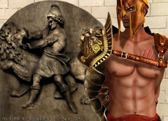 AVENUE Magazine | Apr 2013 (La Bouchre) Tags: travel shadow portrait hairy man roma sexy guy pecs metal bronze gold fight amazing war place arms muscle antique or helmet egypt hunk dude photograph secondlife armor copper april warrior combat guerre region sim abs avenuemagazine scars gladiator roleplay armure hurted rezz