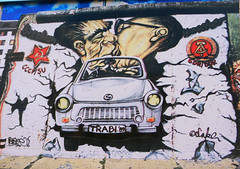The Kiss (Antropoturista) Tags: red streetart berlin germany graffiti kiss thewall eastsidegallery trabi diemauer leonidbrezhnev erichhonecker
