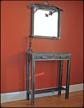 Silver Maple Steel Mirror and Table Set