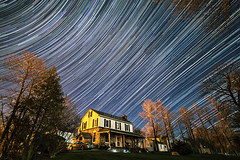 Night Lights (Matt Molloy) Tags: trees sky house motion grass lines car night stars photography timelapse movement stripes space spinning curve streaks startrails meteors lovelife photostack mattmolloy lyrid timestack