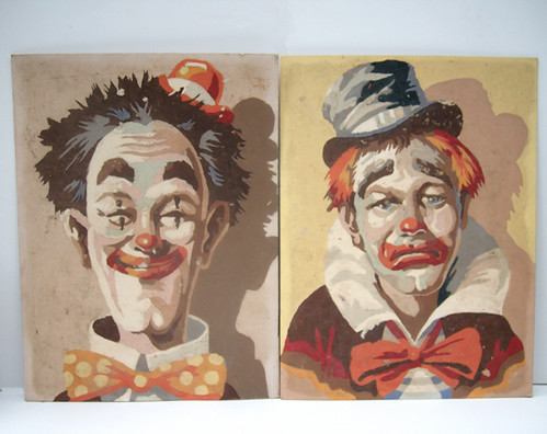 Vintage Paint by Number Clowns