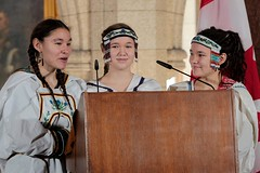 Inuit youth sing a song to close the Dedication Ceremony for the Stained Glass Window. (Aboriginal Affairs and Northern Development Canada) Tags: canada window youth photo artwork culture parliament stainedglass firstnations apology inuit reconciliation houseofcommons mtis centreblock aboriginalpeoples indianresidentialschools aandc aboriginalaffairsandnortherndevelopmentcanada