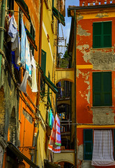 Vernazza - Cinque Terre (fede_gen88) Tags: houses windows red italy green yellow coast nikon colorful italia colours village five liguria clothes laundry terre hanging coastline colourful lands vernazza cinque d5100