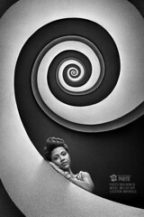 Stairs to Nowhere (Ben Heine) Tags: portrait urban blackandwhite woman inspiration abstract france art fall texture lines wall architecture stairs composition contrast circle real spiral photography 3d marseille jump model focus pattern graphic head geometry centre grain perspective creative shapes center grace minimal stairway pointofview beginning stop illusion fantasy math end reality roll subject canon5d abstraction fold gradation escher dimension 2d depth opticalillusion minimalist infinite tte hypnosis cercle markii hypnotized escaliers unfold courbes stairstonowhere hypnose infini volute benheine tourdefrancephoto pavillonm melodyart