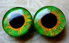 "Custom Blythe eyechips ""Fine Lines-Green Orange"""