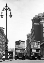 STRAND 1930S (insideonly) Tags: city uk white black streets london heritage buses architecture buildings photography lights traffic united transport cities kingdom double retro passengers british lamps roads posts period omnibus bollards decker