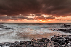 Hvaleyrin (Gujn Ott) Tags: sunset sea sky cloud beach nature water landscape sand waves gravel sjr nttra vatn sk himinn fjara sandur landslag ott slsetur canonef1740mmf40lusm ldur ml hvaleyrin canoneos5dmarkii singhrayreversendgraduatedfilter