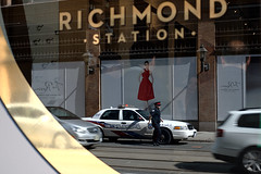 richmond station (Ian Muttoo) Tags: toronto ontario canada reflection car station reflections gold gimp police richmond ufraw richmondstation dsc16231edit