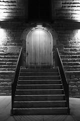 Night steps (jaikdean) Tags: door blackandwhite bw building stone stairs fuji steps entrance fujifilm sooc x100s