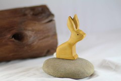 Rabbit Wooden Toy (kris10dale) Tags: wood rabbit bunny alpaca log poplar babies handmade waldorf walnut bee honey etsy hive raccoons woodentoy naturetable tworaccoonhollow