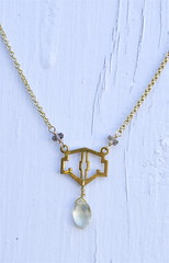 lemon quartz gold art deco necklace (methodjewelry) Tags: vintage necklace lemon handmade jewelry artdeco etsy goldnecklace lemonquartz methodjewelry