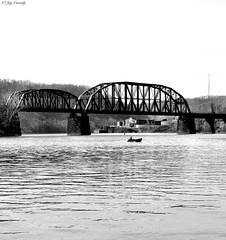 Freeport, PA (JayCass84) Tags: camera wood bridge trees blackandwhite bw tree water beautiful metal rural river boat fishing woods flickr waves pennsylvania awesome wave boating freeport bait trainbridge instagram instagramapp