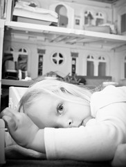 tired (Mommy with a Nikon) Tags: blackandwhite girl toddler doll nap sweet playtime dollhouse